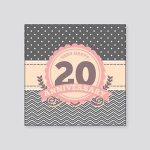 "20th Anniversary Gift Chevr Square Sticker 3"" x 3"""